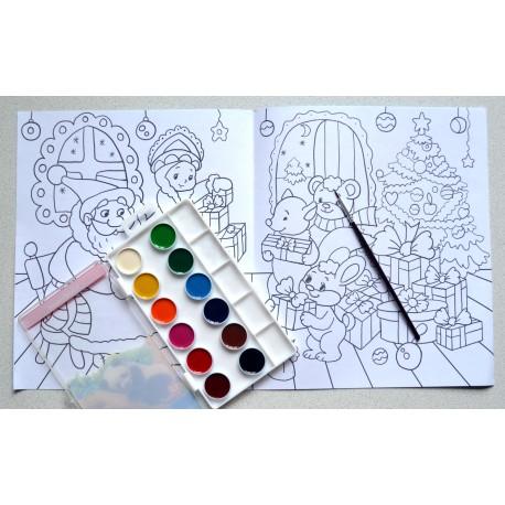 Раскраска новогодняя для детей 2-4 года в детский сад из подарочного набора Play Plan Box